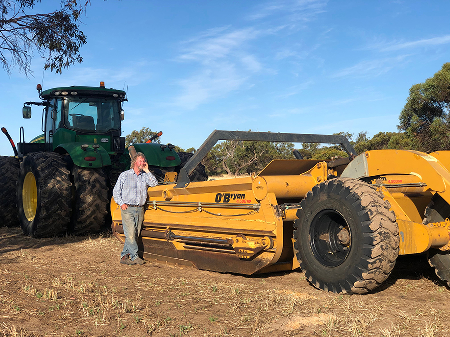 Steve with earthworks machinery used to ameliorate non-wetting sands.