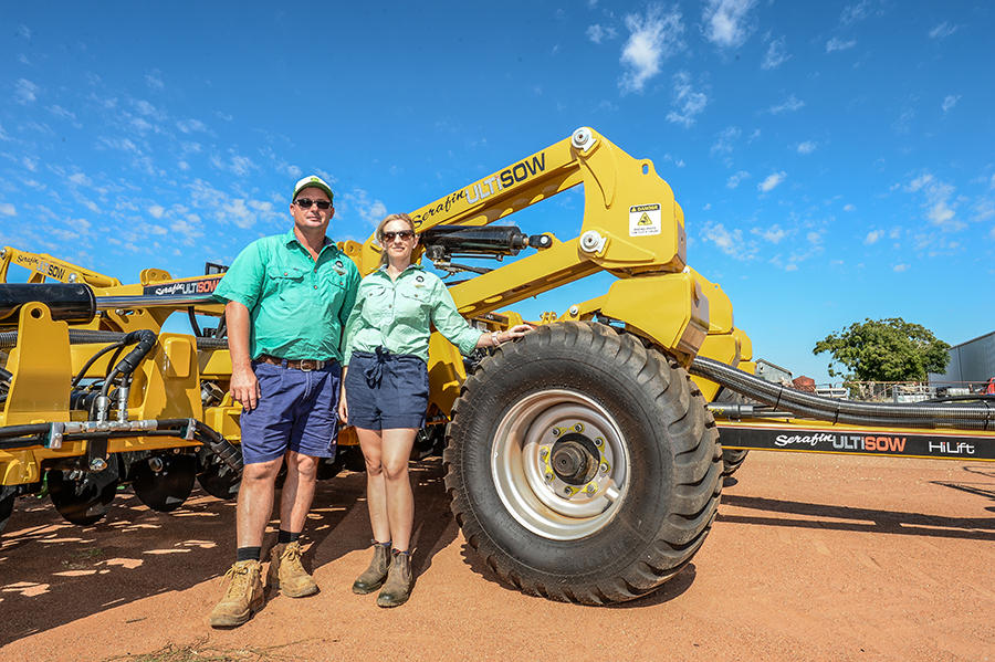 paul and robyn with their new seeder