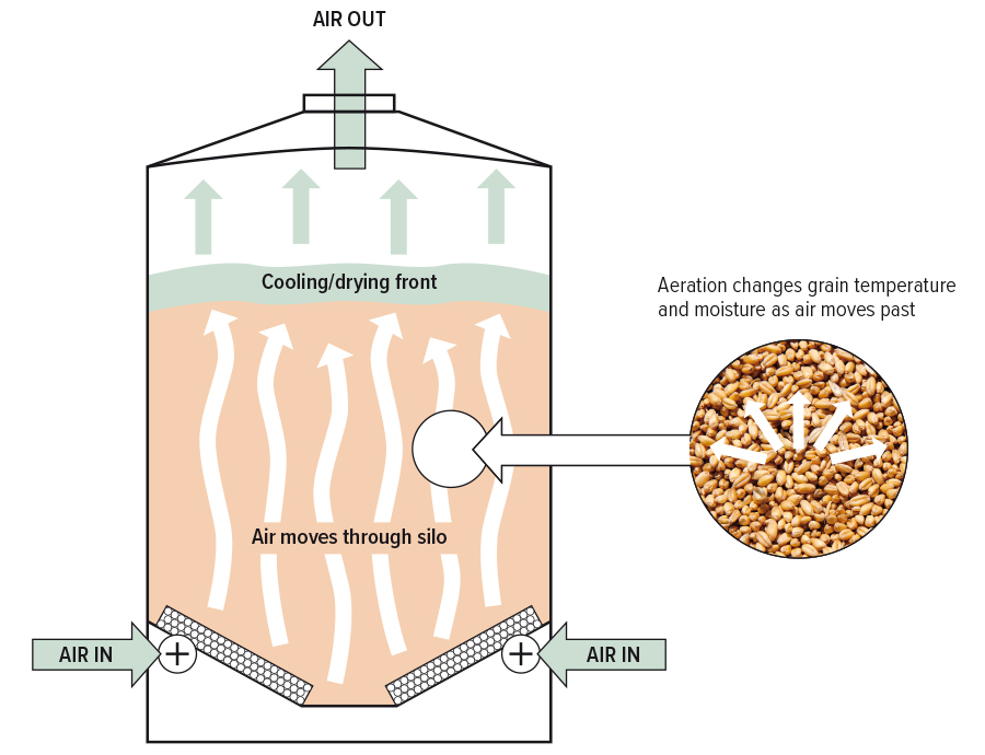 Grain storage aeration illustration