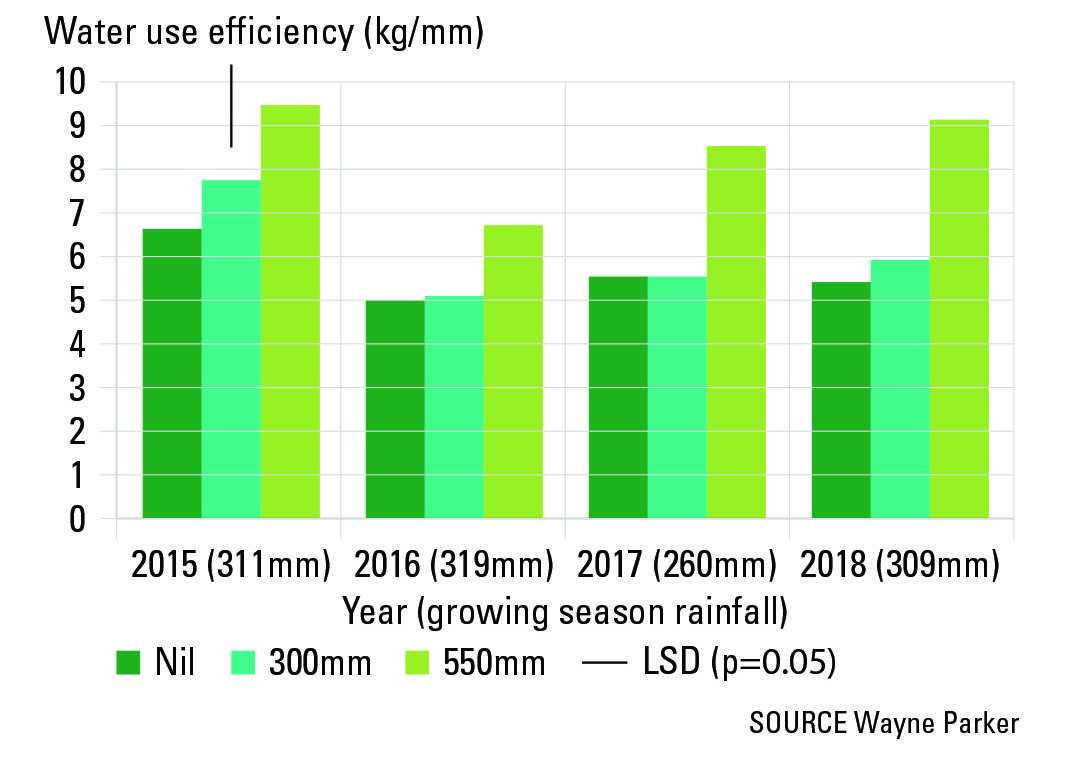 FIGURE 3 Controlled traffic preserved the water use efficiency benefits of deep ripping to 550mm (in 2015) for four years. Trial in a yellow loamy sand at Moora, WA.