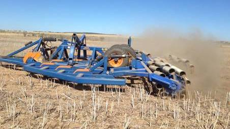 Figure 1. Home-made roller that ended up too heavy and bulldozing the soil. PHOTO Bindi Isbister, WA DPIRD