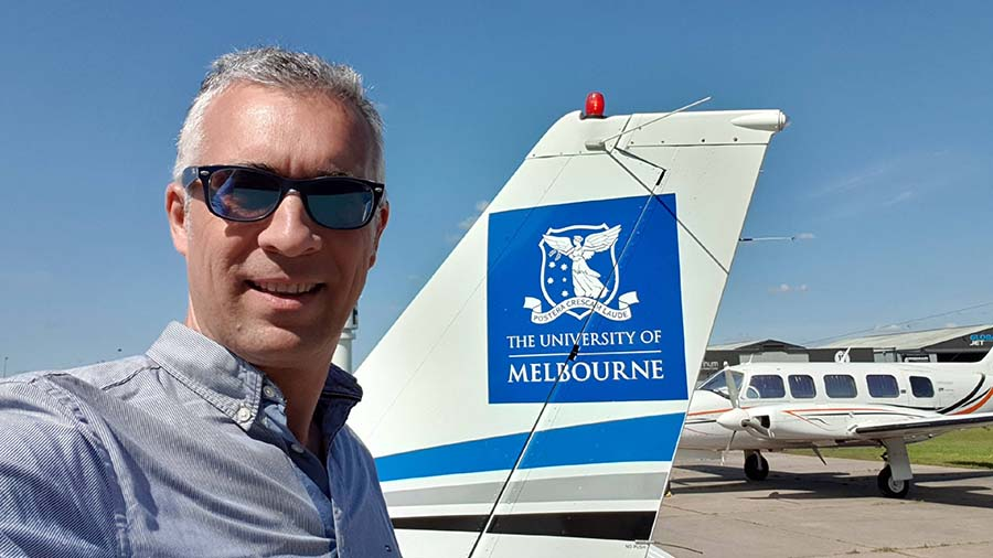 The University of Melbourne's Professor Pablo Zarco-Tejada will combine images from the university's new airborne imaging facilities with ground-based surveys to develop the analytics that drive CropPhen. PHOTO Professor Pablo Zarco-Tejada