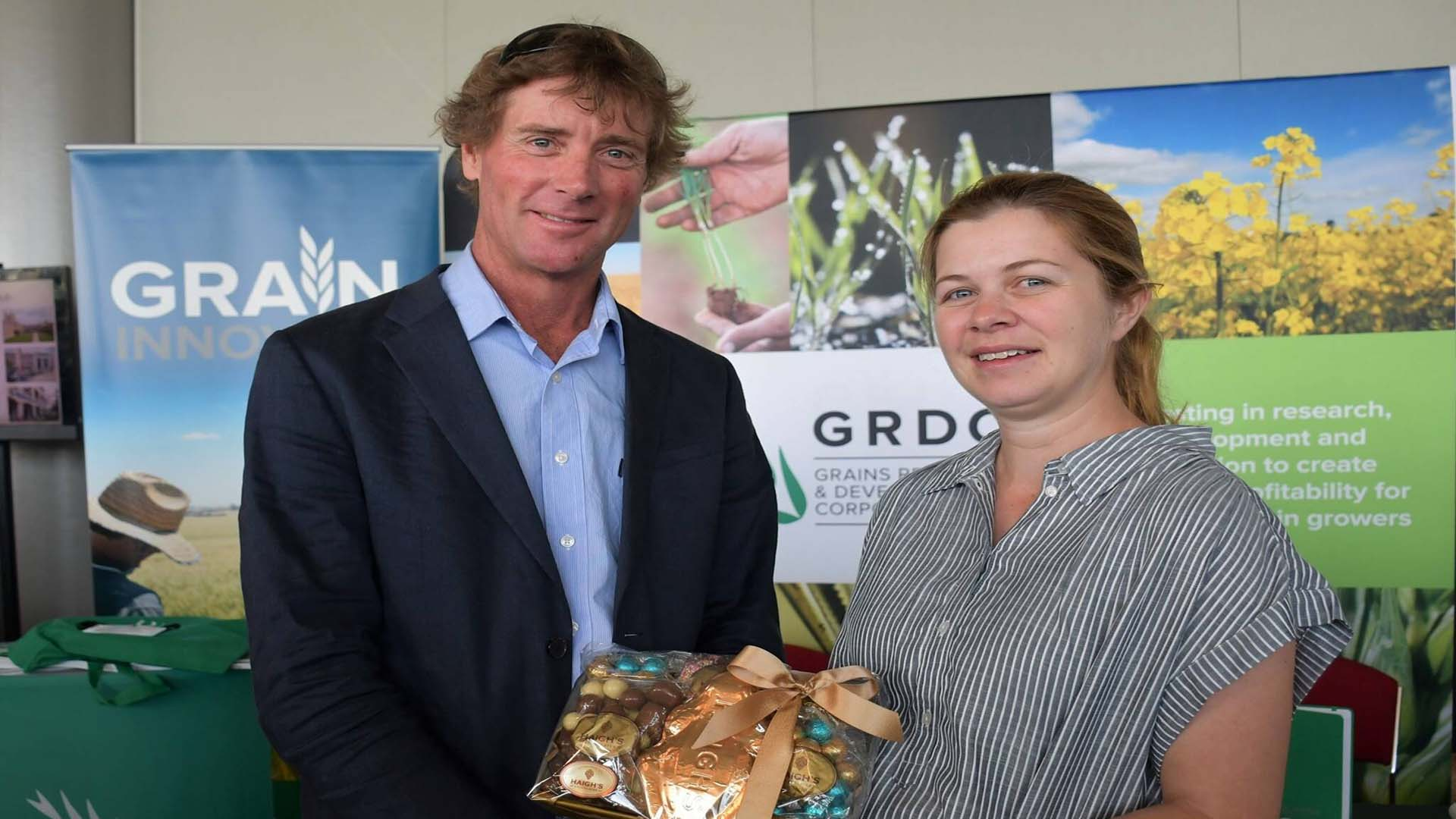 Soils researcher Dr Sarah Noack was recently presented with the GRDC Southern Region 2020 Emerging Leader Award by GRDC Southern Region Panel member Michael Chilvers, of Tasmania.