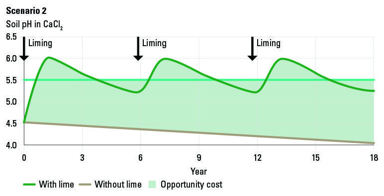 Figure 2: Scenario for liming when there is a surface soil acidity problem.