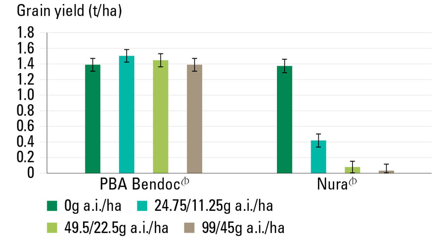 chart showing PBA Bendoc has Group B herbicide tolerance