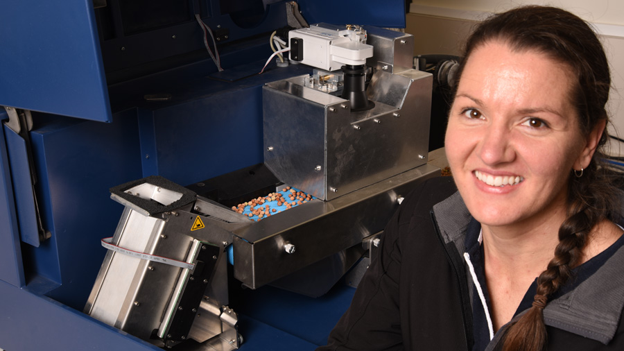 Agriculture Victoria research scientist Linda McDonald with a grain image analyser
