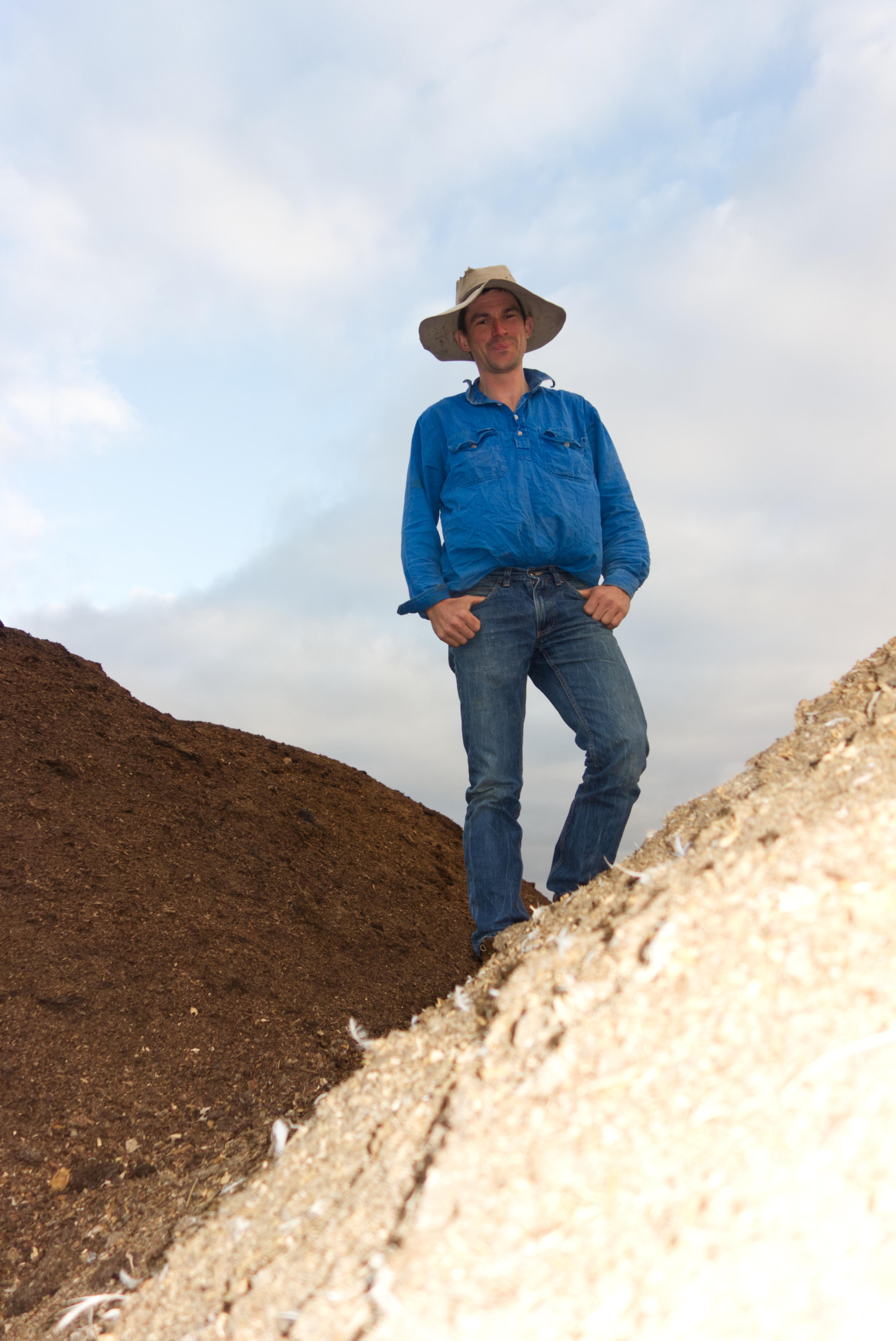 Toss Venning atop piles manure.
