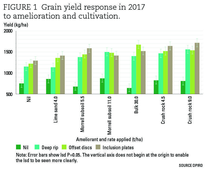 FiFigure 1 Grain yield response in 2017 to amelioration and cultivation.
