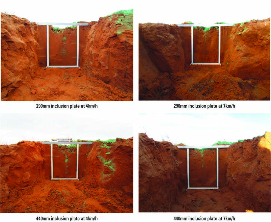 Effect of the inclusion plate height and speed on topsoil burial.